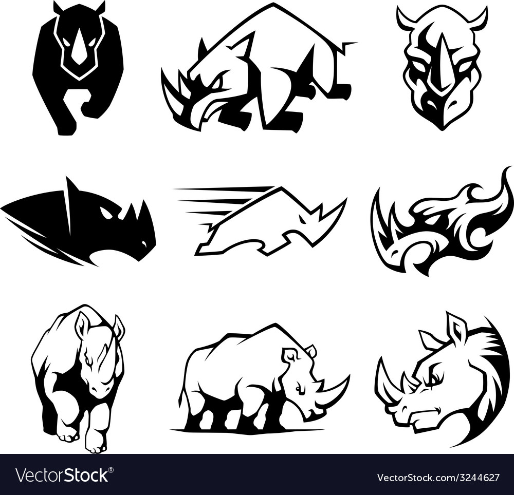 Rhinoceros symbol vector | Price: 1 Credit (USD $1)