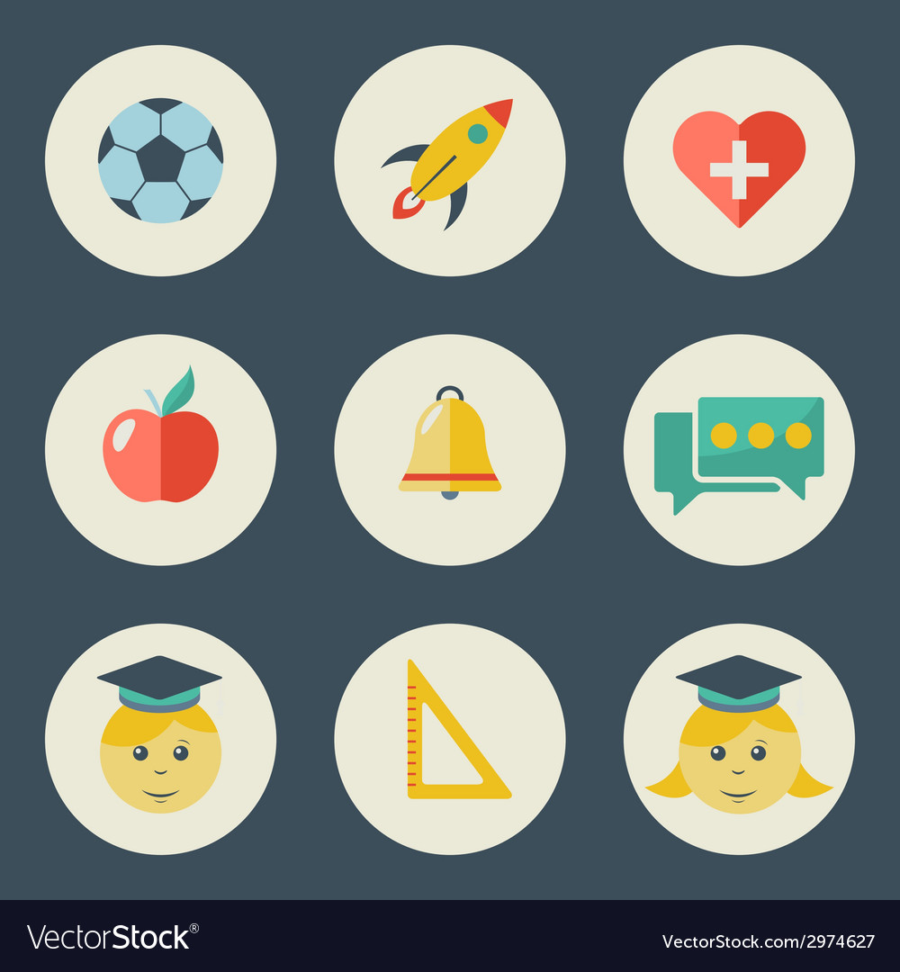 School and education icons flat design set vector   Price: 1 Credit (USD $1)