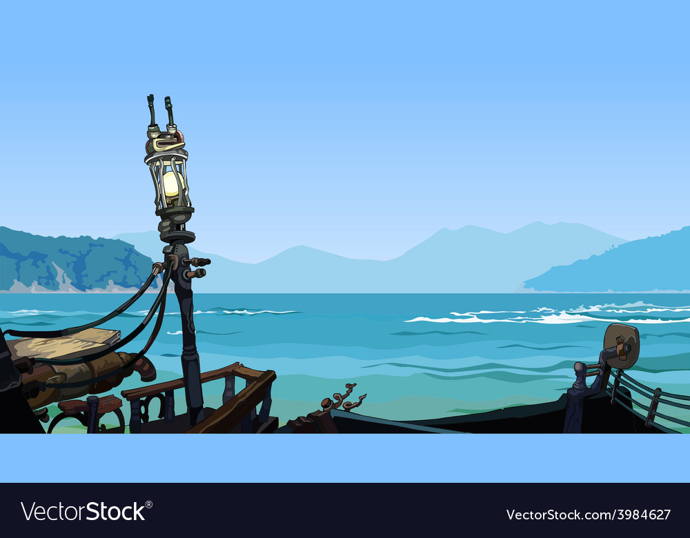 Sea landscape with islands view from the side vector | Price: 3 Credit (USD $3)
