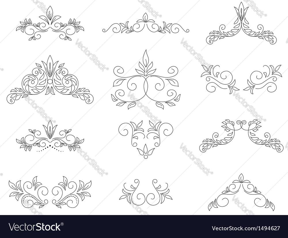 Set - floral design elements vector | Price: 1 Credit (USD $1)
