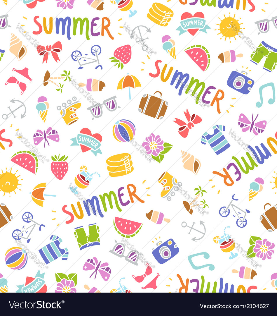 Summer doodle pattern vector | Price: 1 Credit (USD $1)