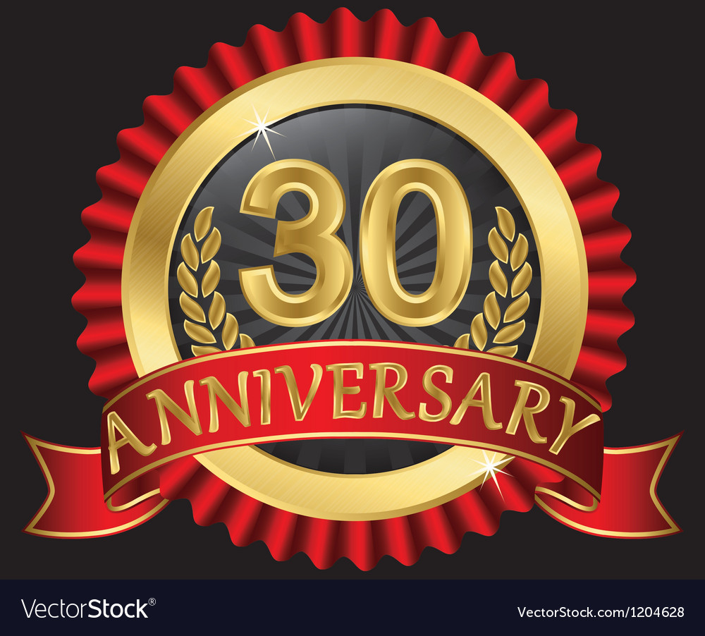 30 years anniversary golden label with ribbon vector | Price: 3 Credit (USD $3)