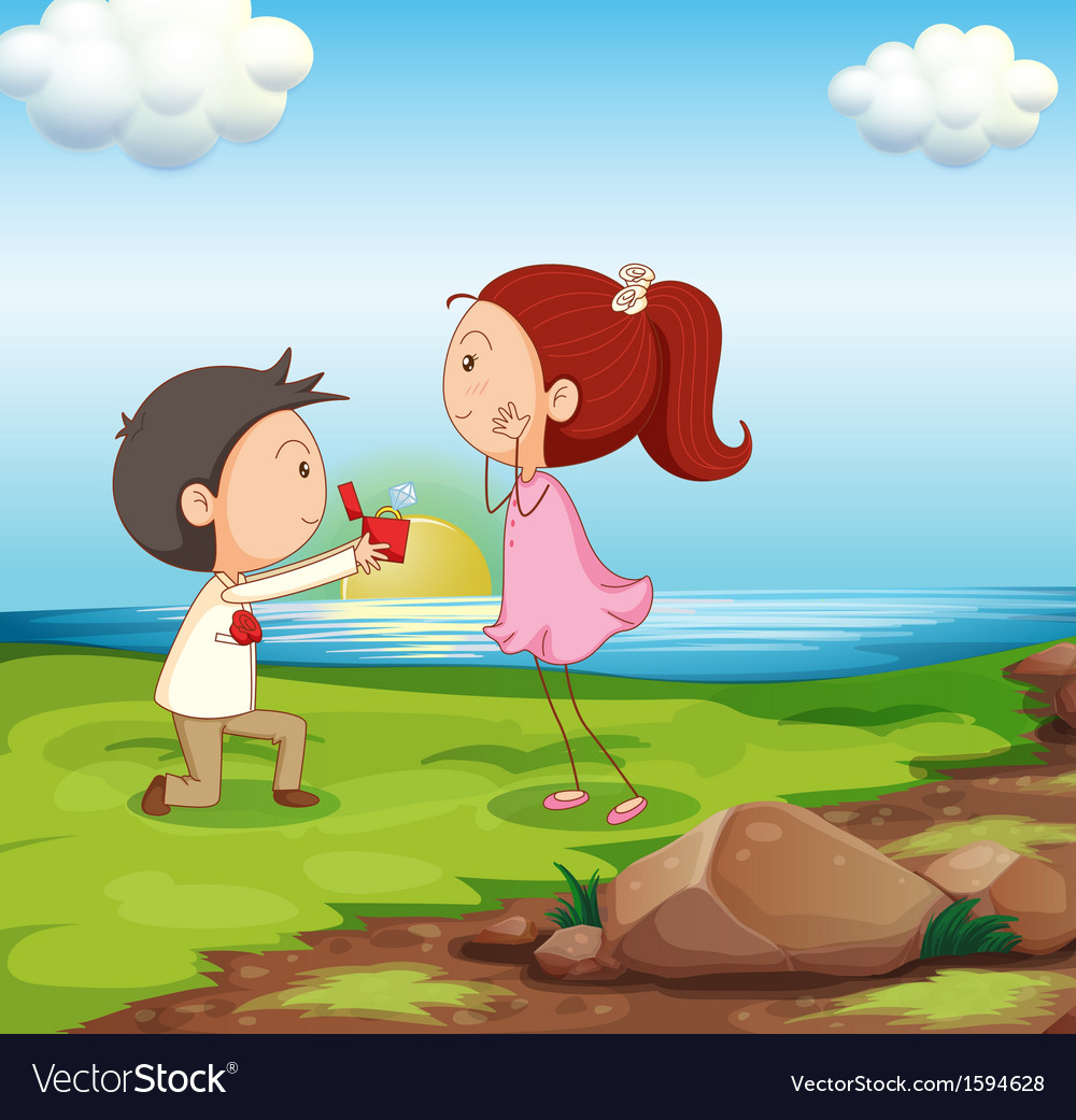 A boy making a marriage proposal at the riverbank vector | Price: 1 Credit (USD $1)