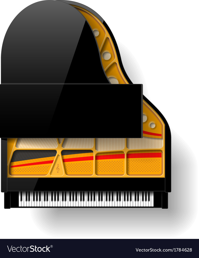 Black grand piano with open top vector | Price: 1 Credit (USD $1)