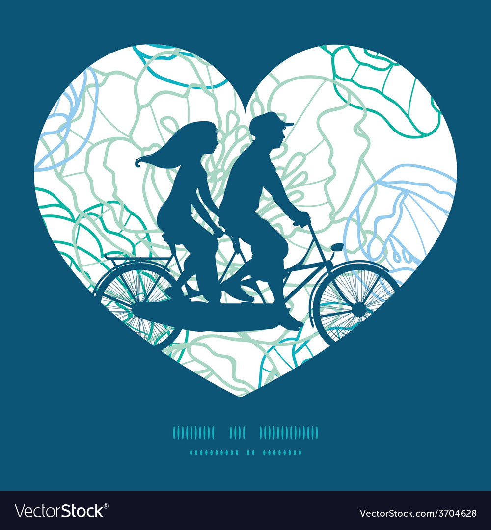 Blue line art flowers couple on tandem vector | Price: 1 Credit (USD $1)