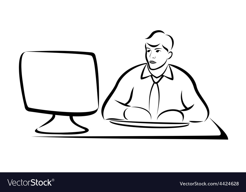 Business man working on computer vector | Price: 1 Credit (USD $1)