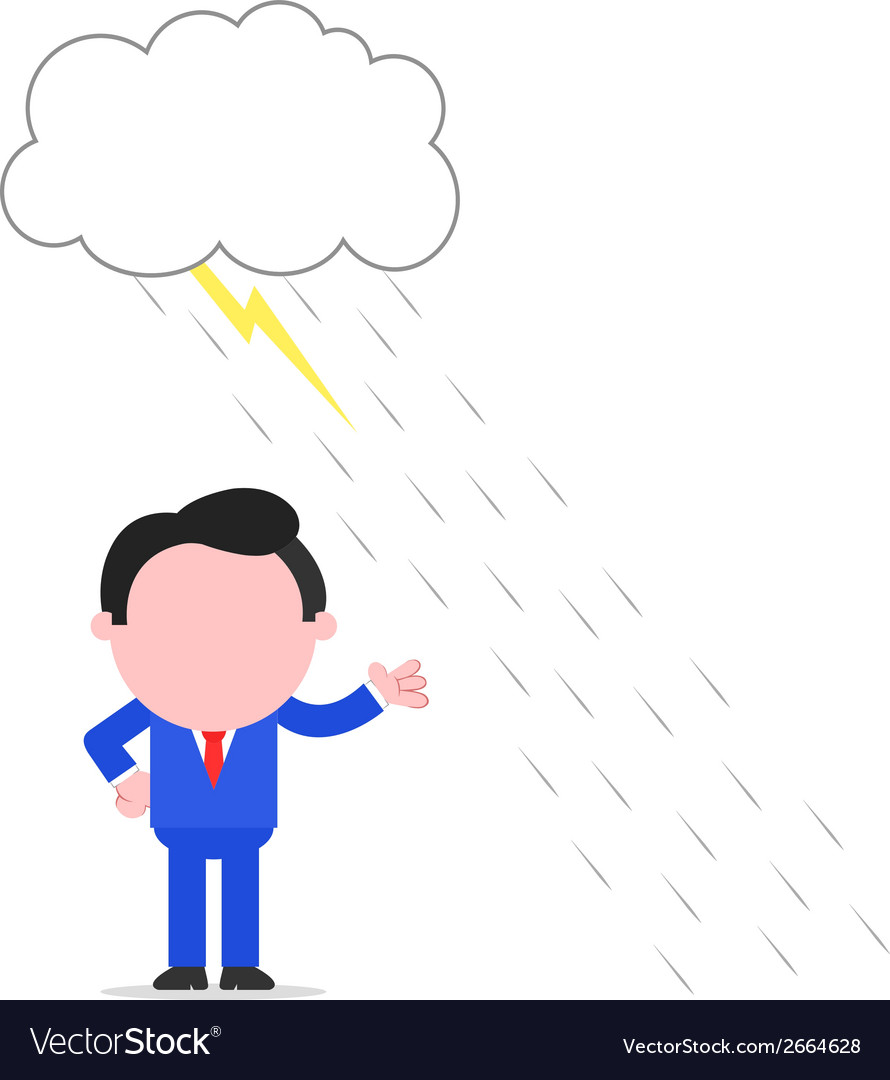 Businessman avoiding thunderstorm vector | Price: 1 Credit (USD $1)