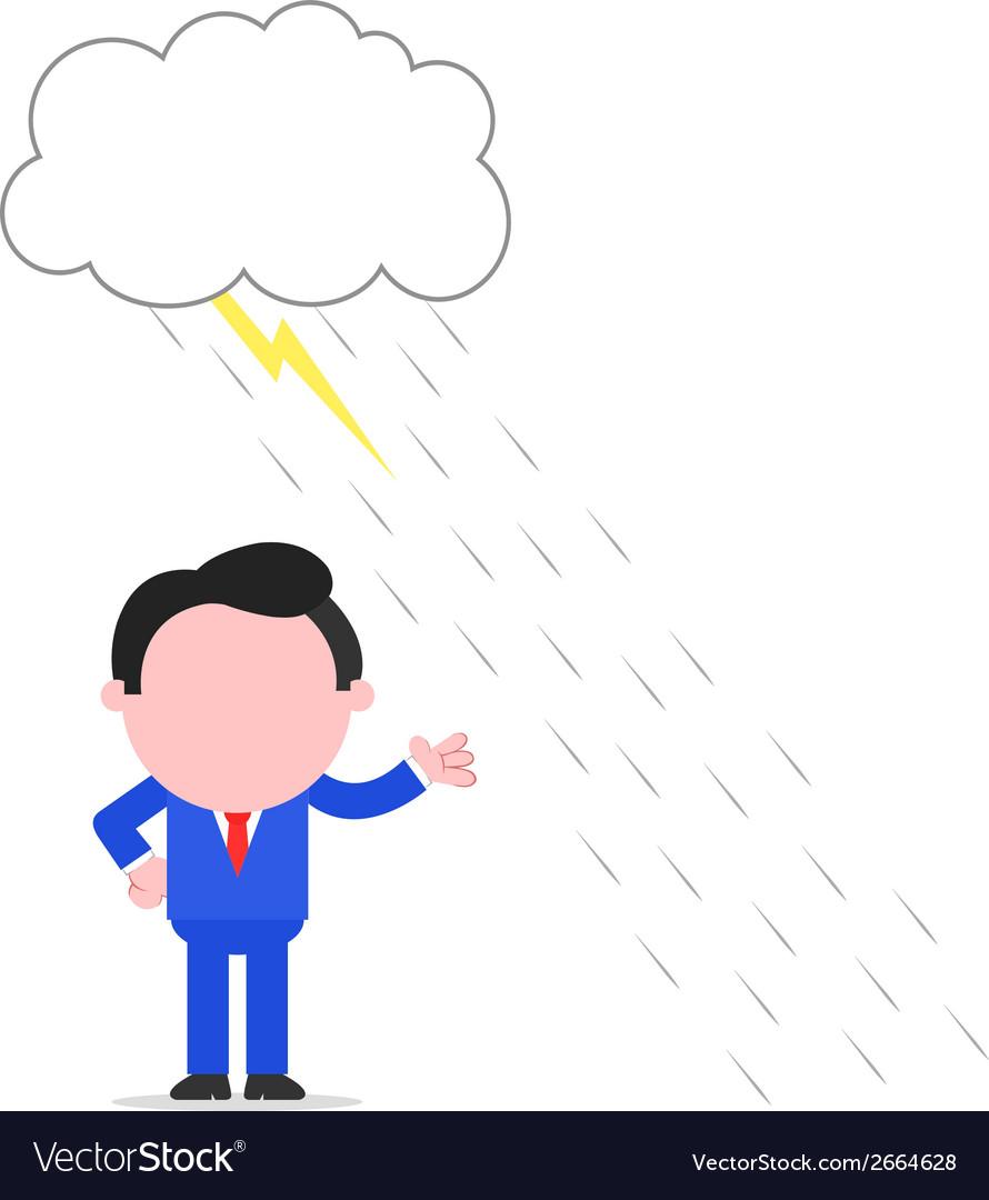 Businessman avoiding thunderstorm vector | Price: 1 Credit (USD $1)