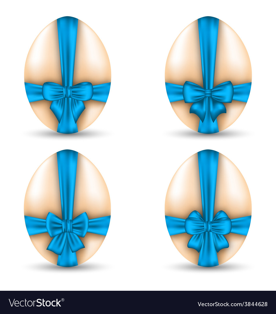 Easter set celebration eggs wrapping blue bows vector | Price: 1 Credit (USD $1)