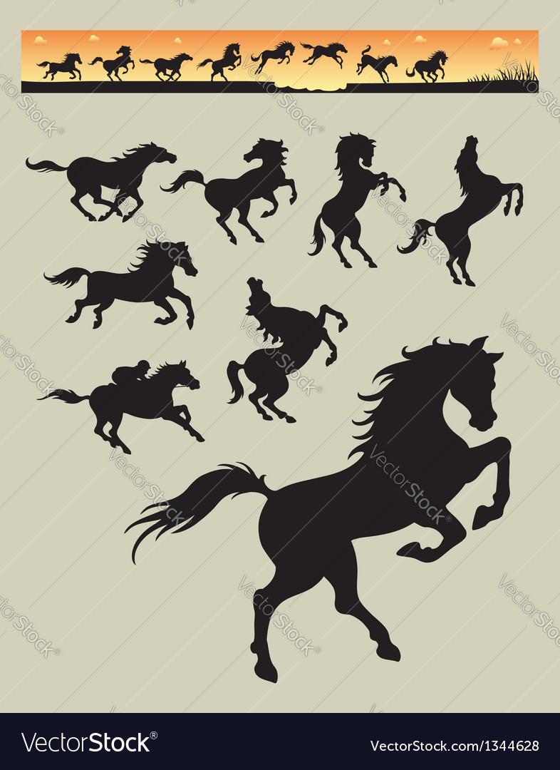 Horse running silhouettes 1 vector | Price: 1 Credit (USD $1)