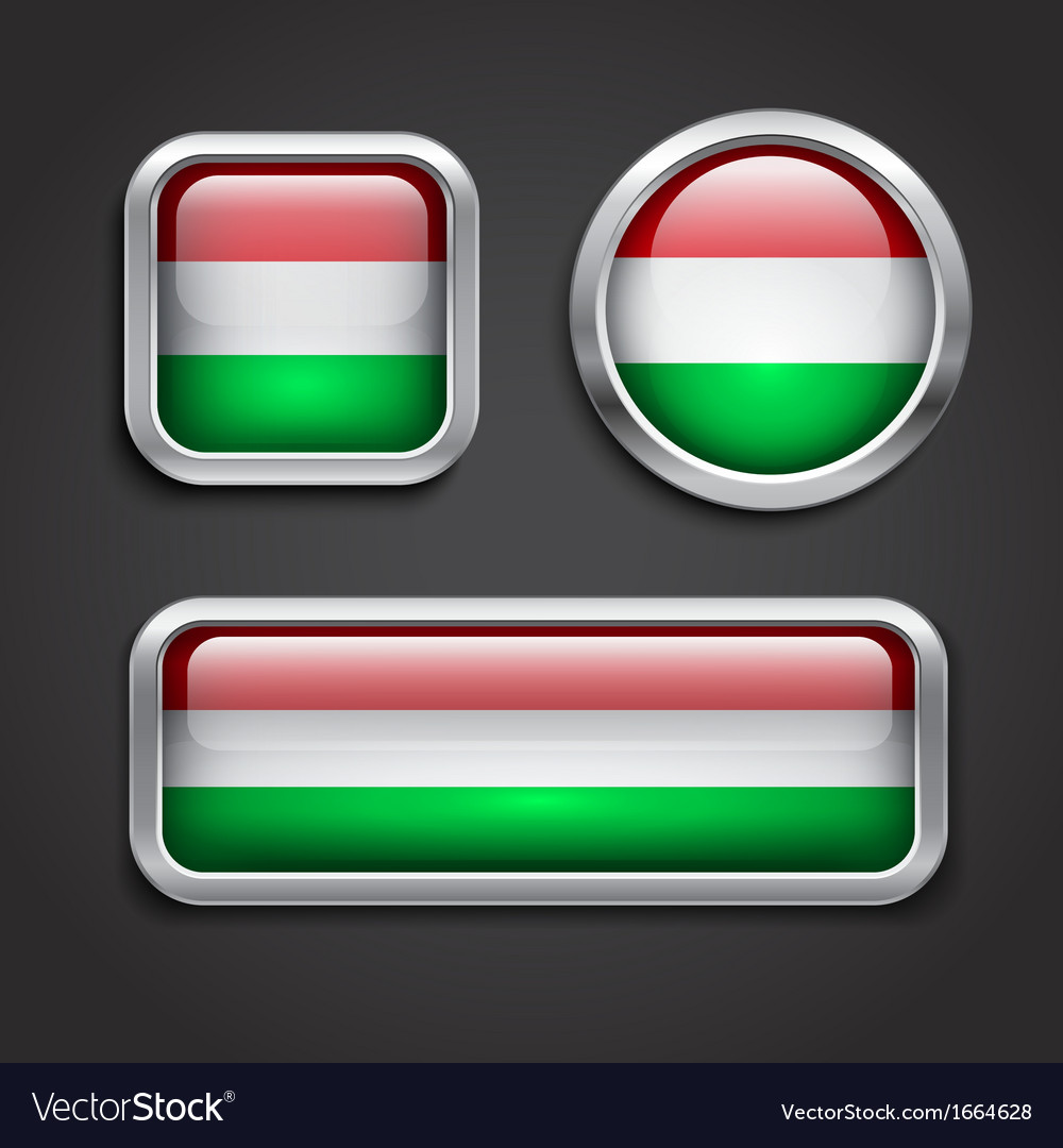Hungary flag glass buttons vector | Price: 1 Credit (USD $1)