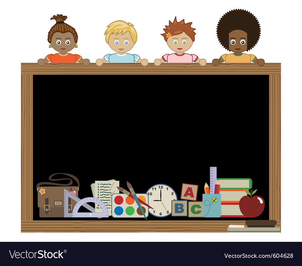 Kids holding blackboard vector | Price: 1 Credit (USD $1)