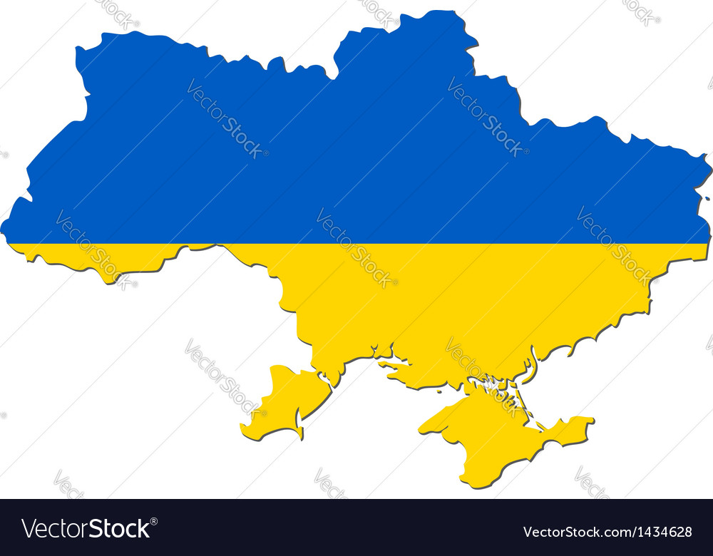 Map of ukraine with national flag vector | Price: 1 Credit (USD $1)