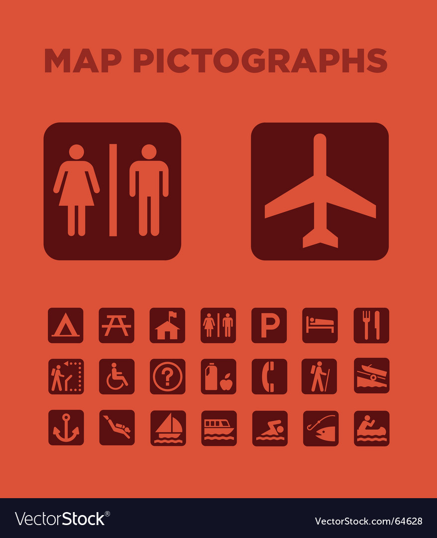 Map pictographs collection vector | Price: 1 Credit (USD $1)