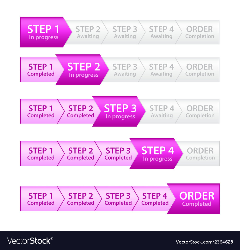 Pink progress bar for order process vector | Price: 1 Credit (USD $1)