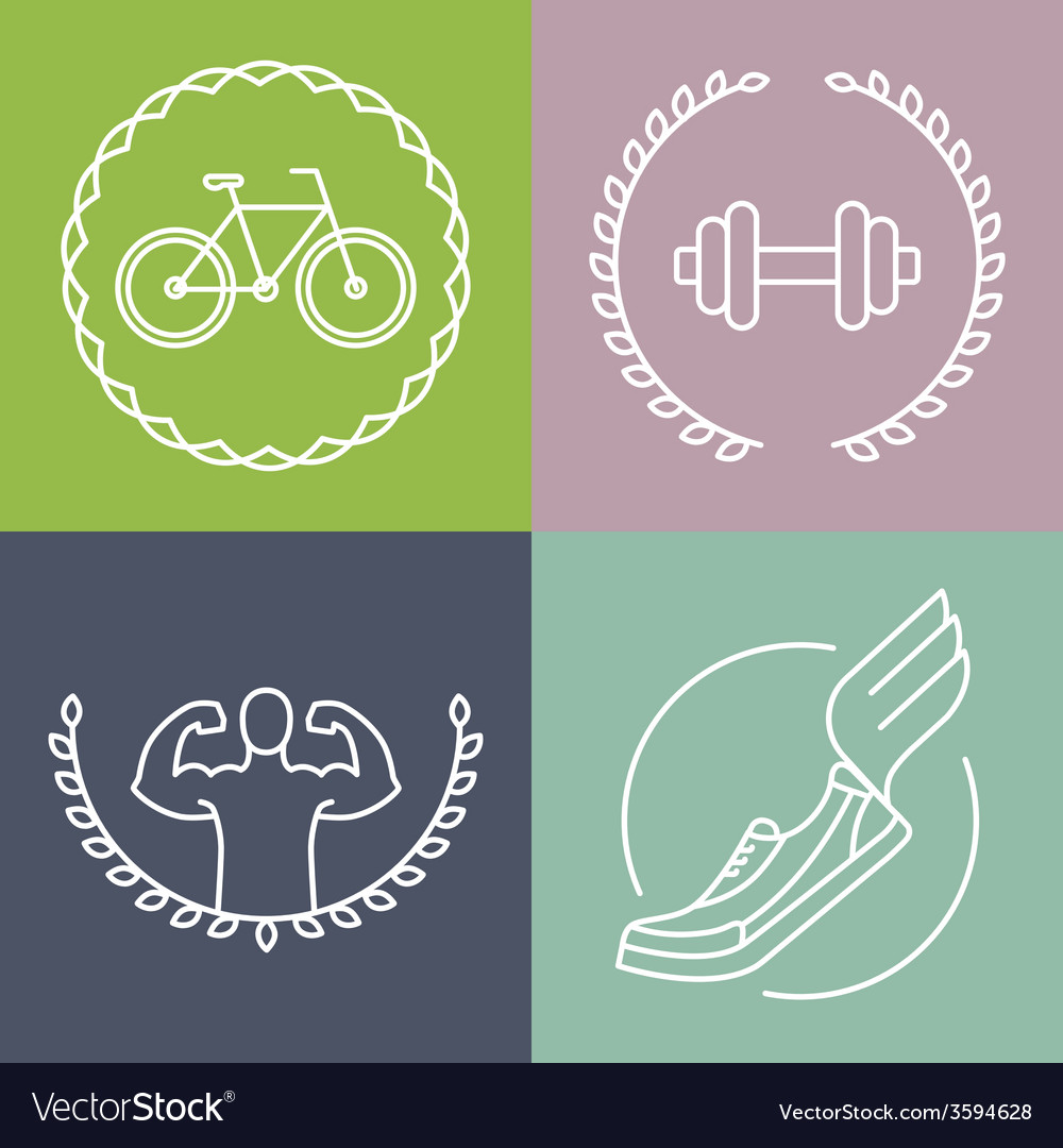 Sport logos in outline style vector | Price: 1 Credit (USD $1)