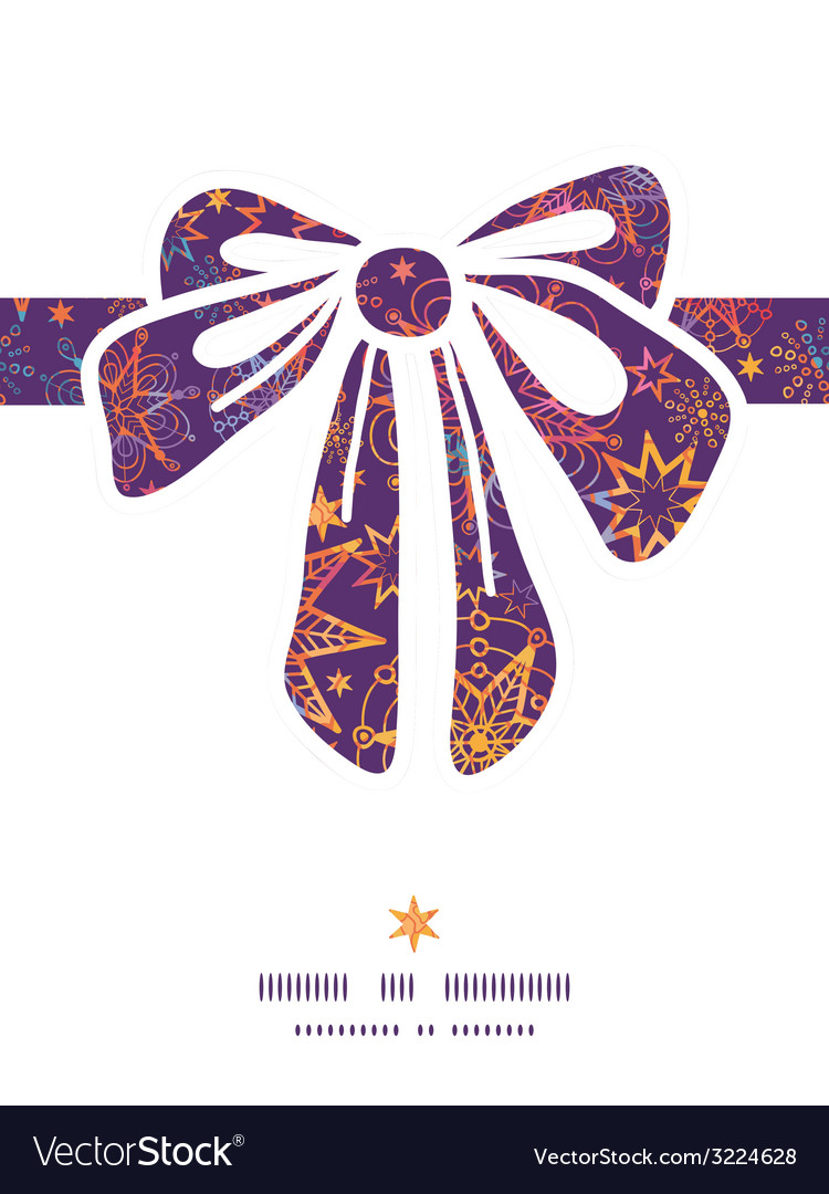 Textured christmas stars gift bow silhouette vector | Price: 1 Credit (USD $1)
