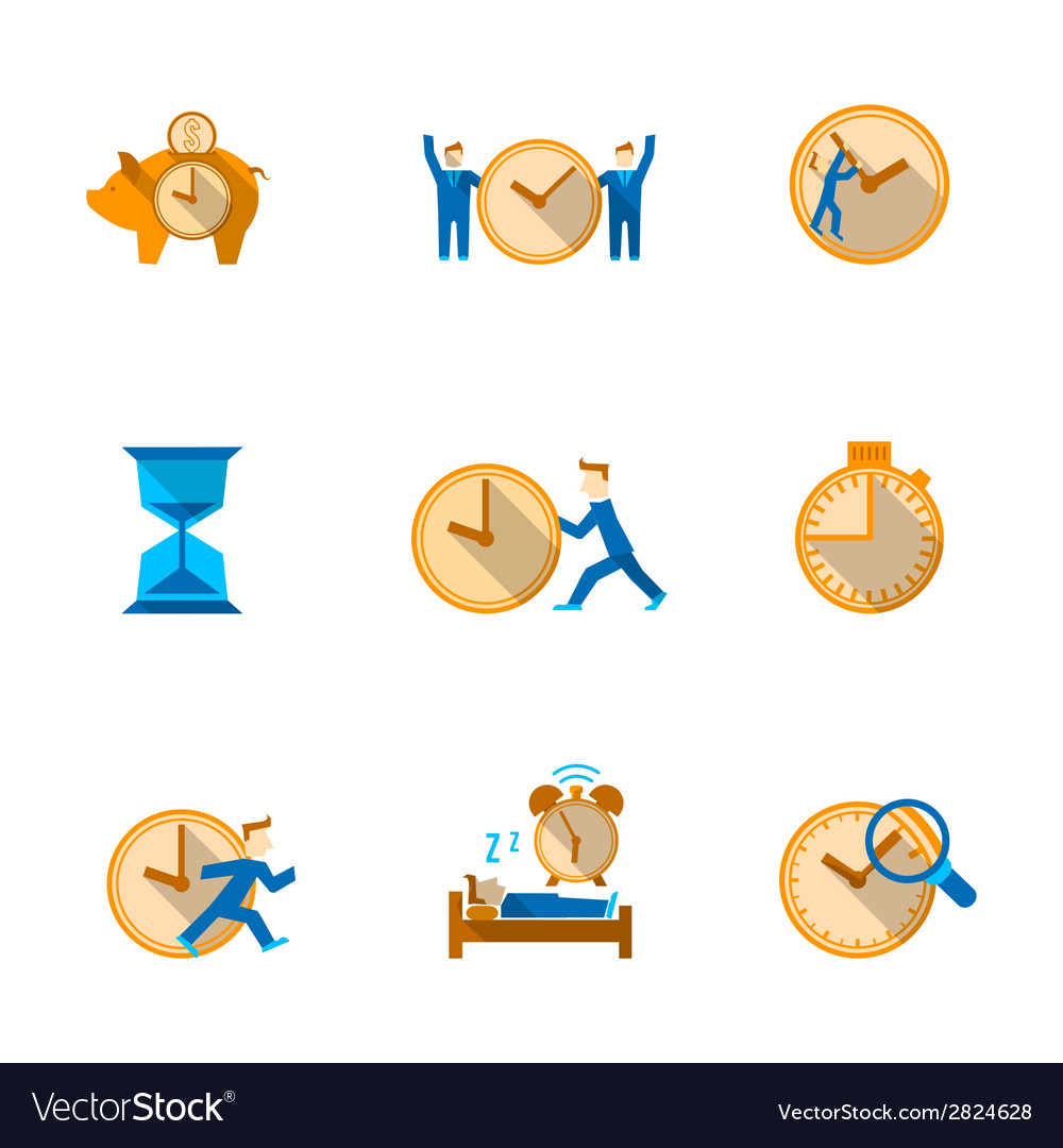 Time management icons set vector | Price: 1 Credit (USD $1)