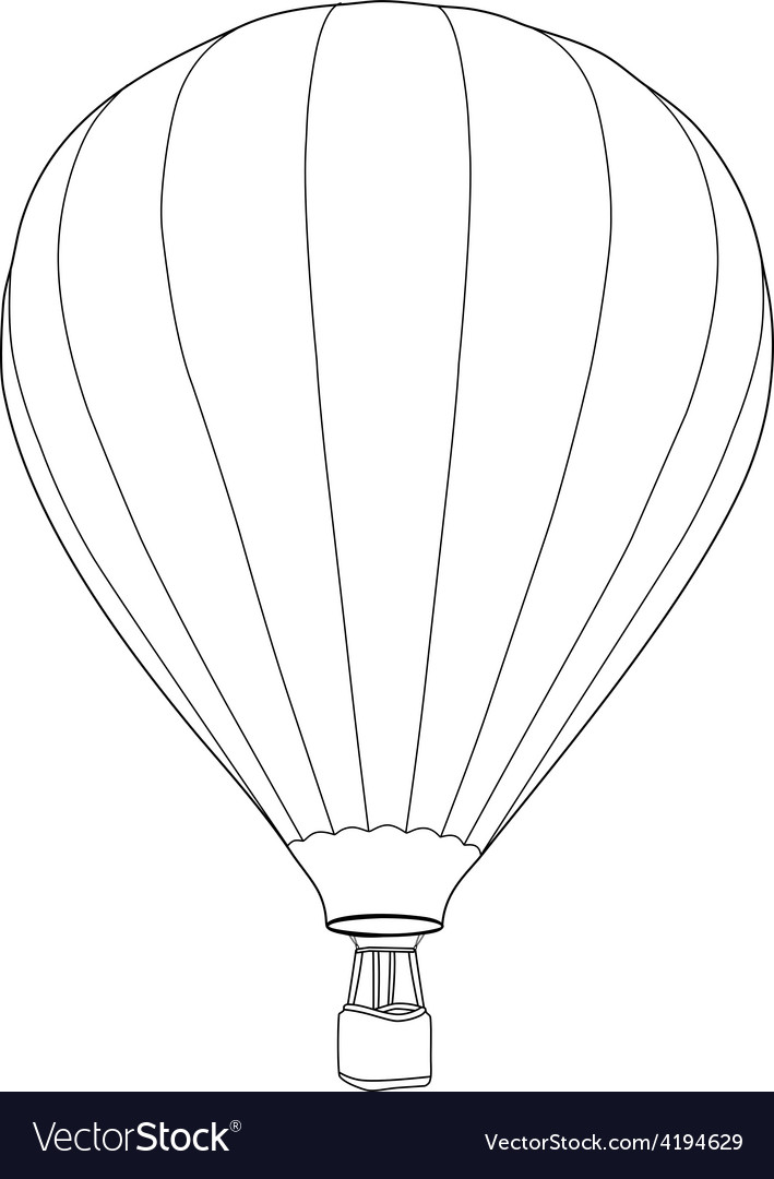 Air balloon outline drawing vector | Price: 1 Credit (USD $1)