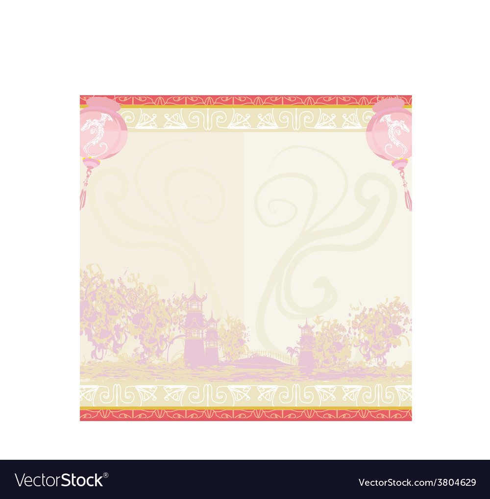 Asian landscape and chinese lanterns vector | Price: 1 Credit (USD $1)