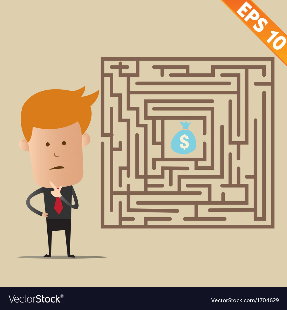 Business man finding exit route of labyrinth - vector | Price: 1 Credit (USD $1)