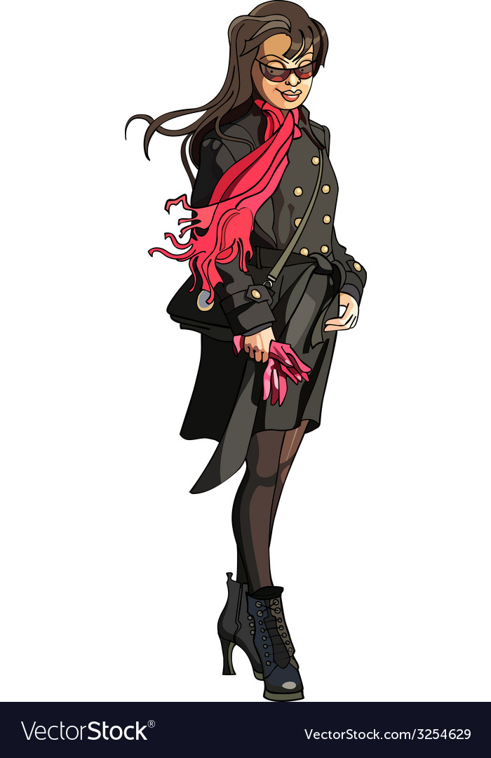 Cartoon girl in coat with scarf fluttering in the vector   Price: 1 Credit (USD $1)
