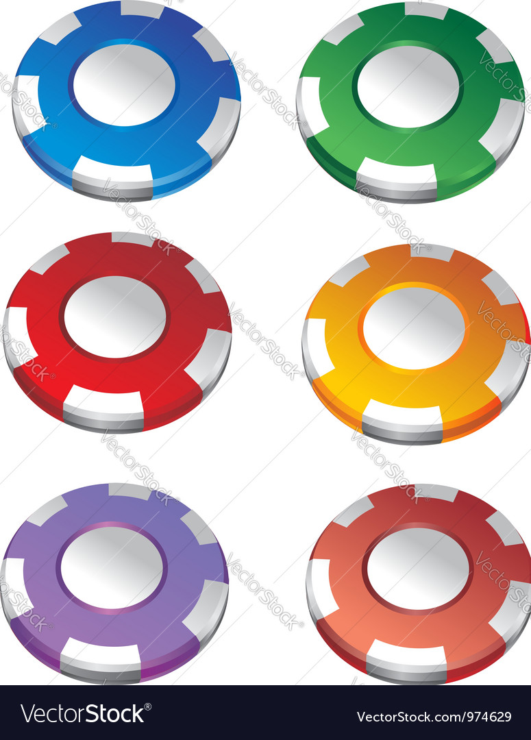 Color casino chips vector | Price: 1 Credit (USD $1)