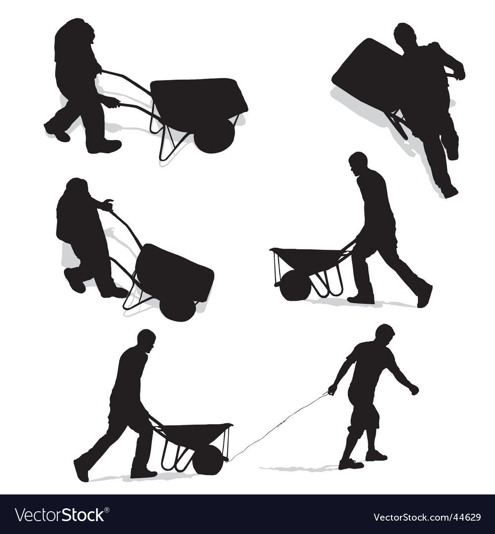 Construction workers with wheelbarrow vector | Price: 1 Credit (USD $1)
