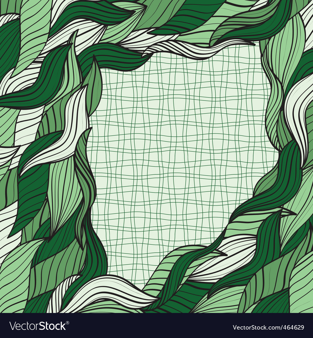 Frame with green leaves vector | Price: 1 Credit (USD $1)