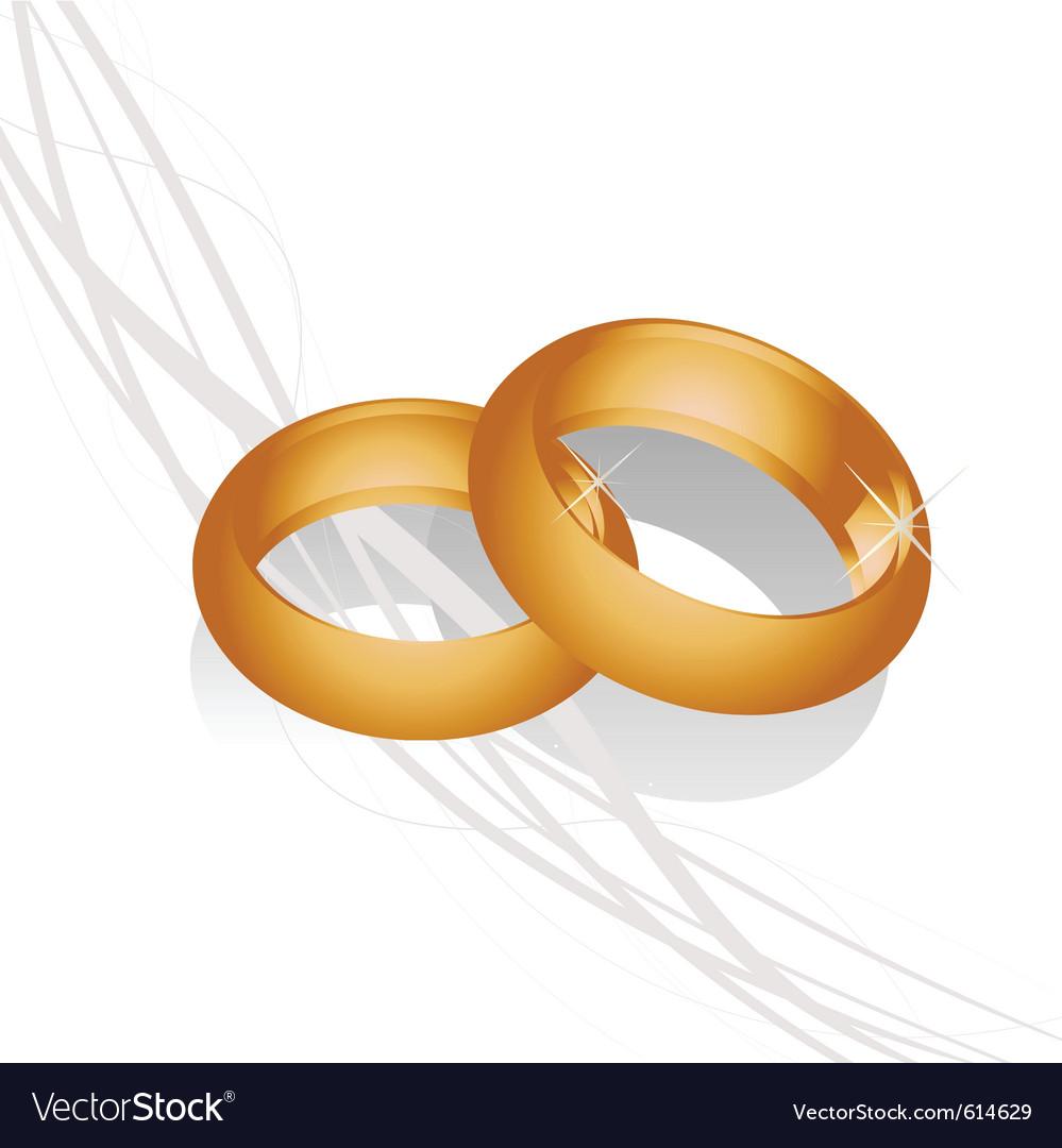 Golden wedding rings vector