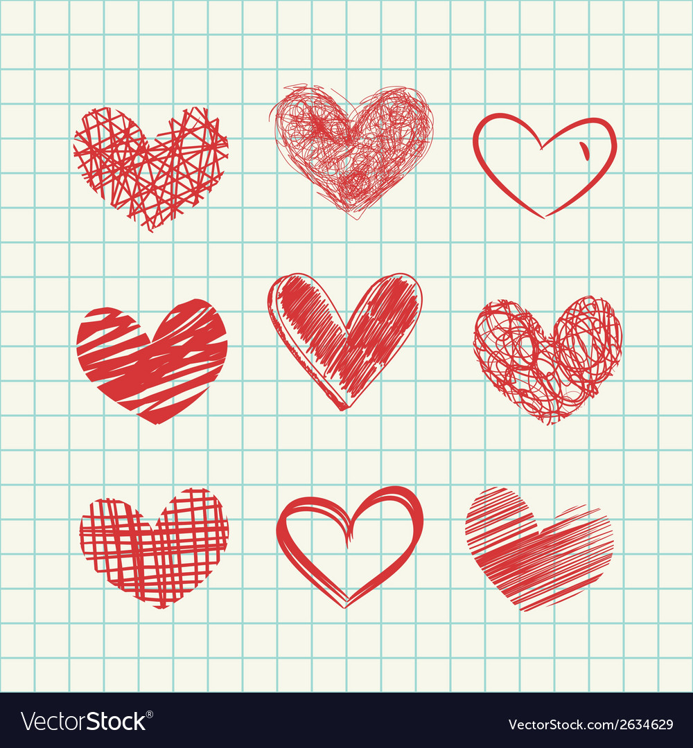 Hand drawn hearts vector | Price: 1 Credit (USD $1)