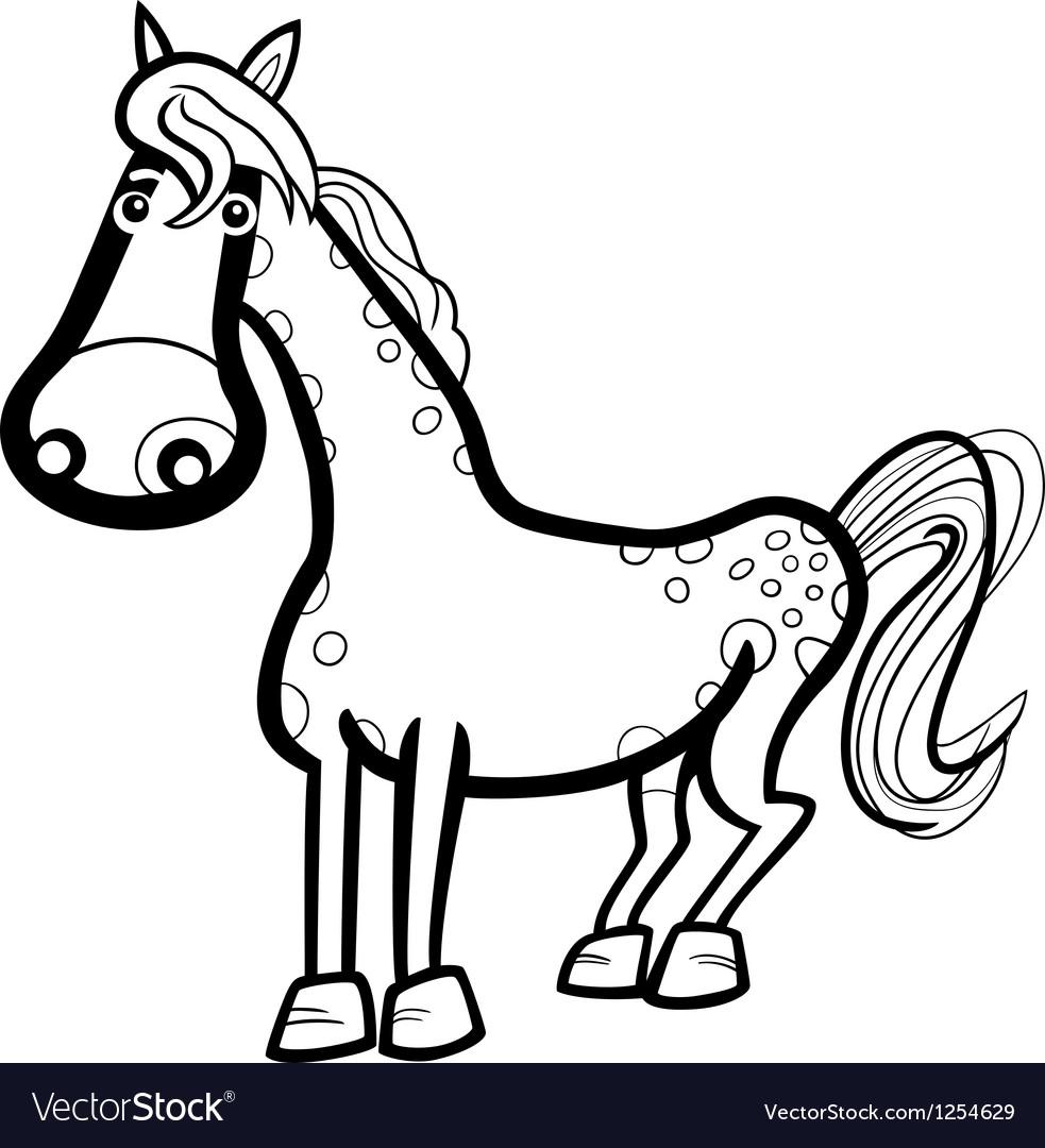 Horse farm animal cartoon for coloring vector | Price: 1 Credit (USD $1)