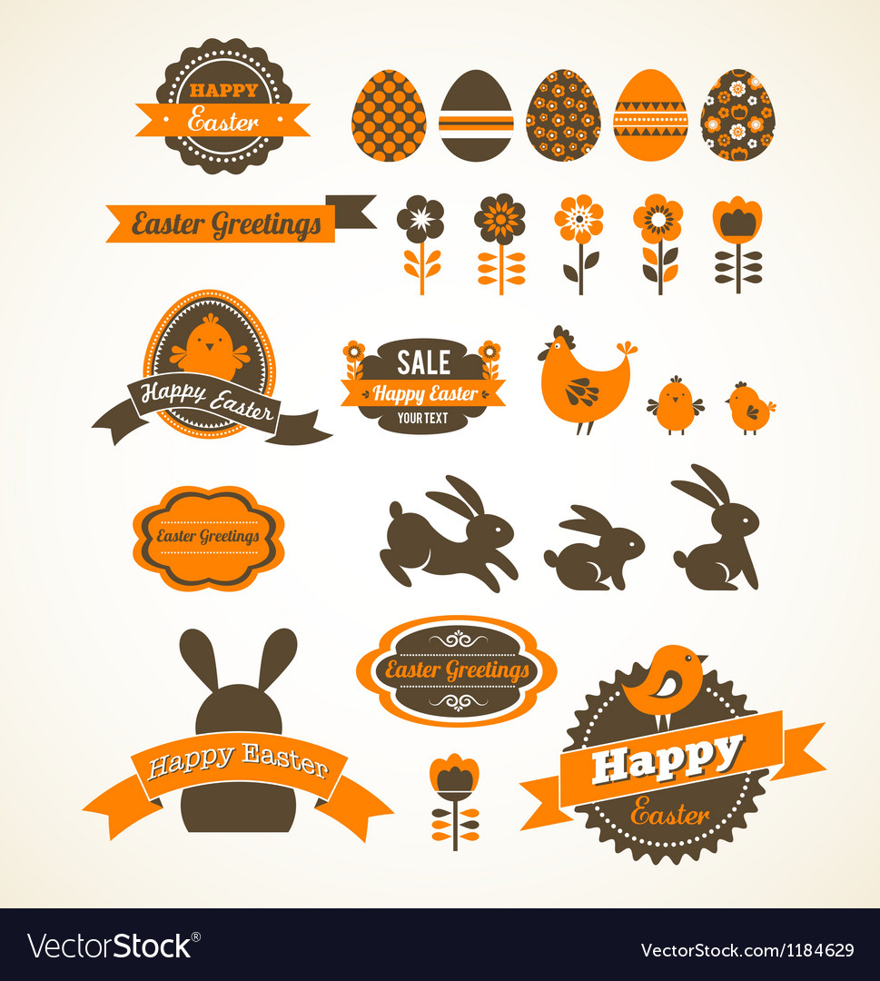 Set of easter vintage elements banner labels and vector | Price: 1 Credit (USD $1)