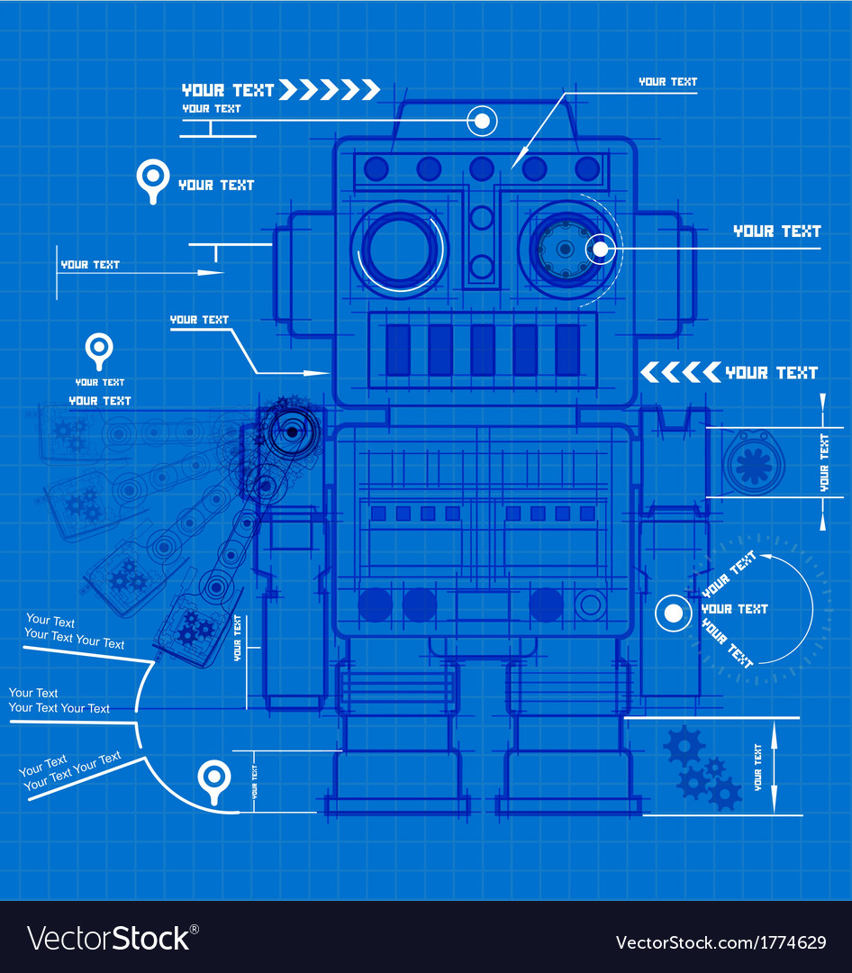 Sketch robot blueprint vector | Price: 1 Credit (USD $1)