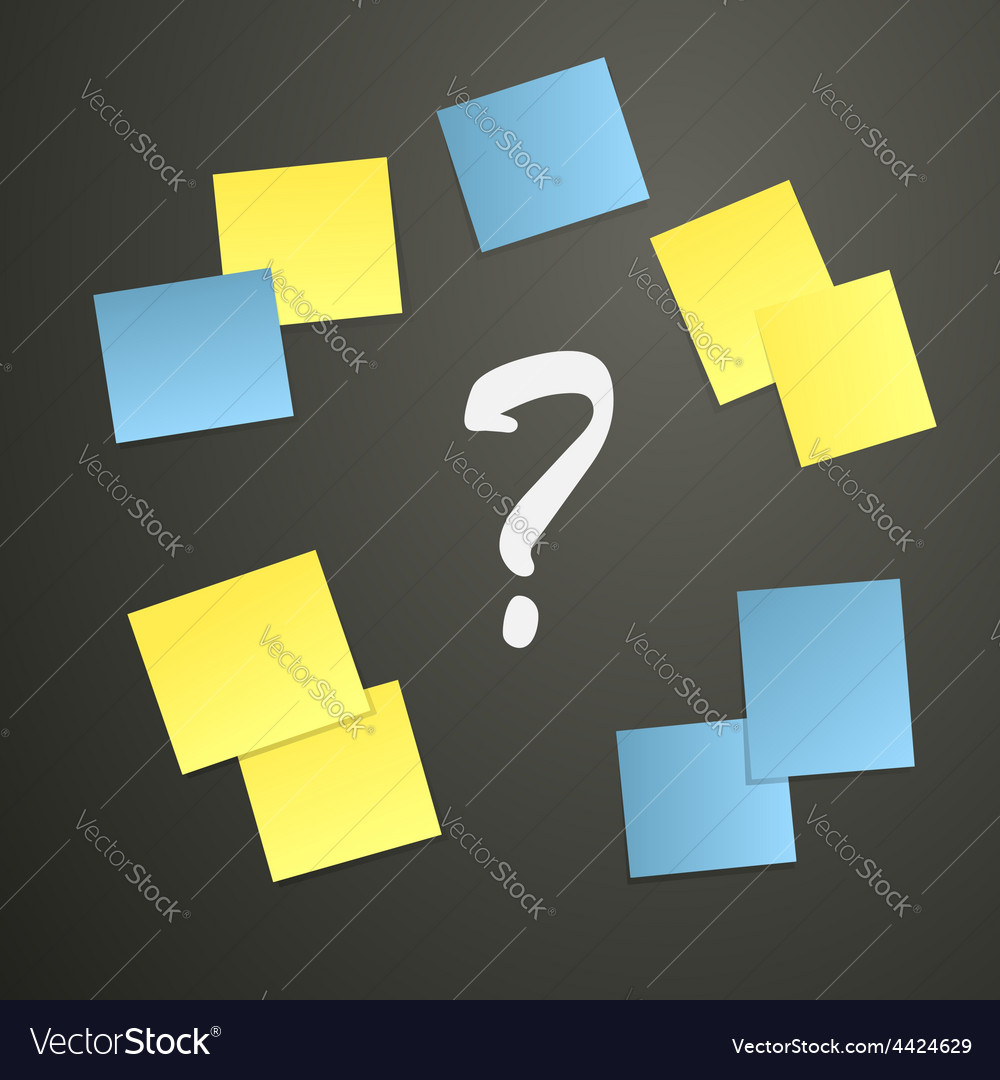 Sticky notes with question mark vector | Price: 1 Credit (USD $1)
