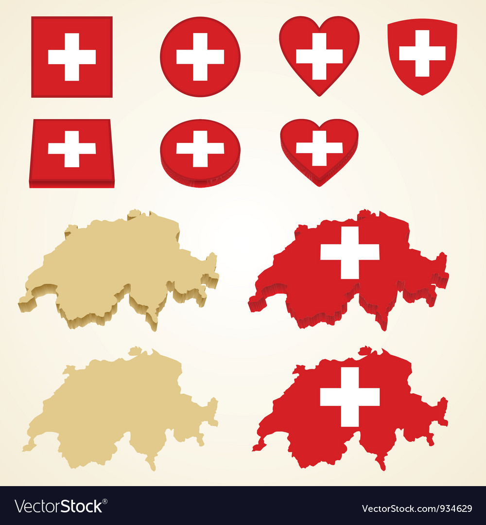 Switzerland map flag 3d pack vector | Price: 1 Credit (USD $1)