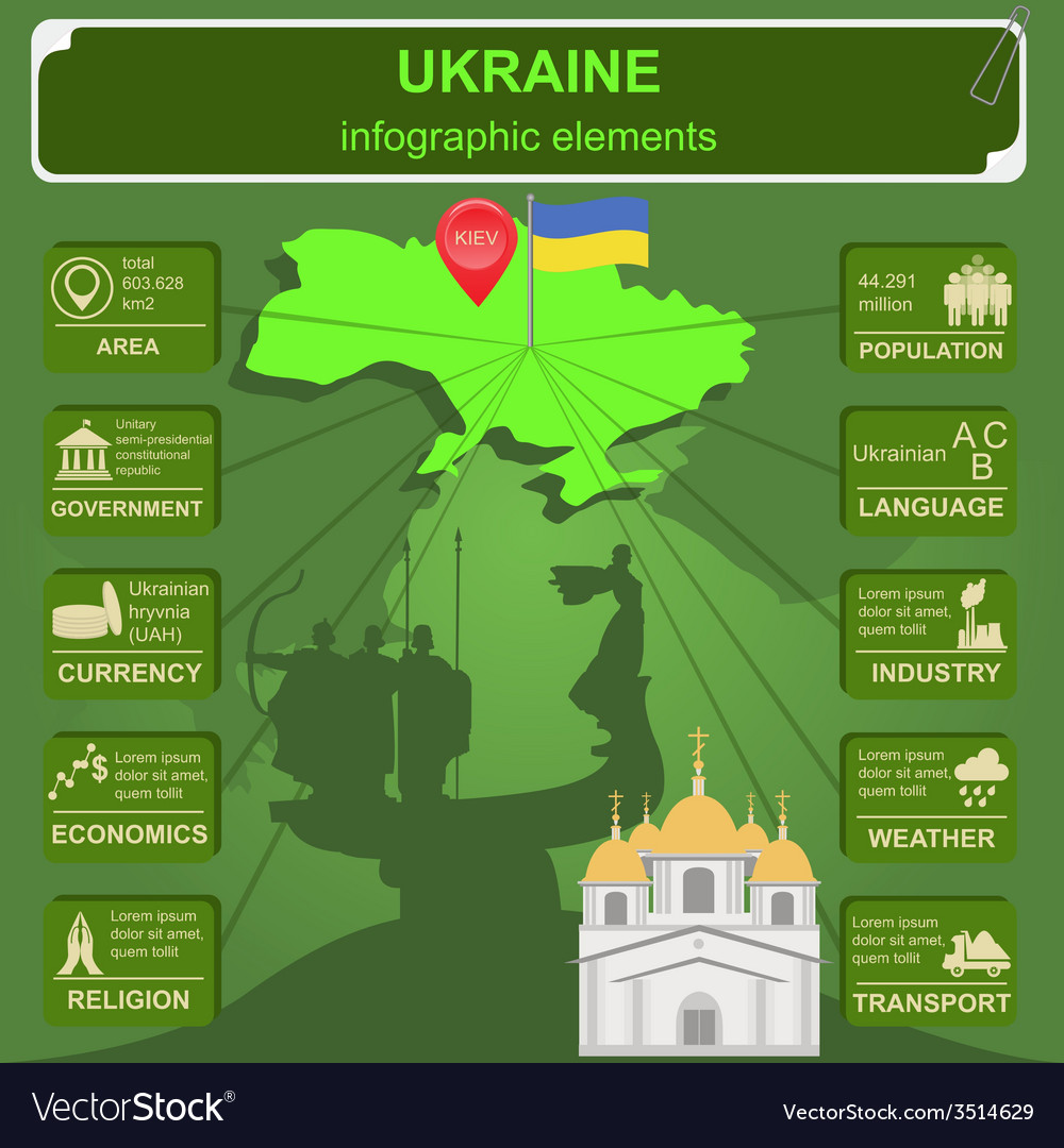 Ukraine infographics statistical data sights vector | Price: 1 Credit (USD $1)
