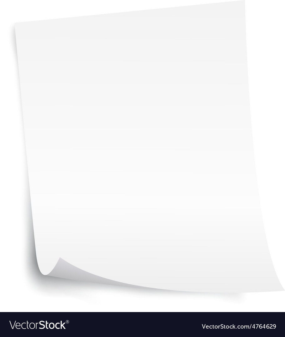 White blank paper sheet with curl corner vector | Price: 1 Credit (USD $1)