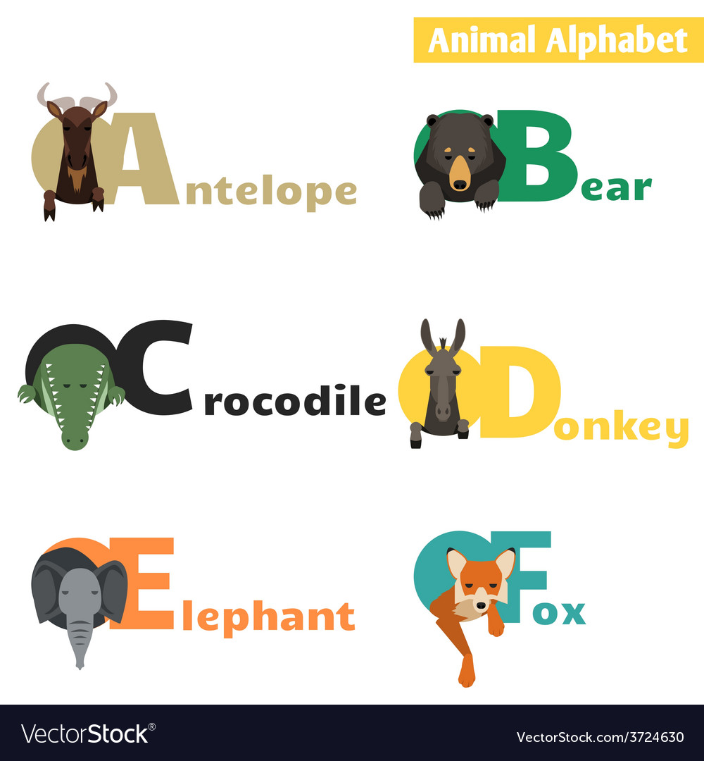 Animal alphabet set 1 vector | Price: 1 Credit (USD $1)