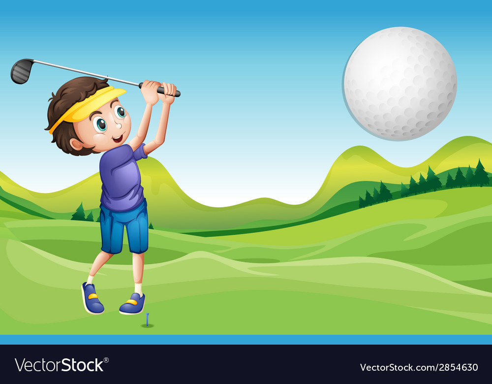 Boy playing golf vector | Price: 3 Credit (USD $3)