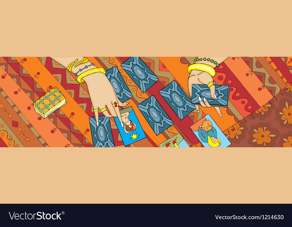 Card reading tarot hand banner vector | Price: 3 Credit (USD $3)