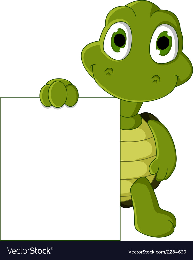 Cute green turtle cartoon with blank sign vector | Price: 1 Credit (USD $1)