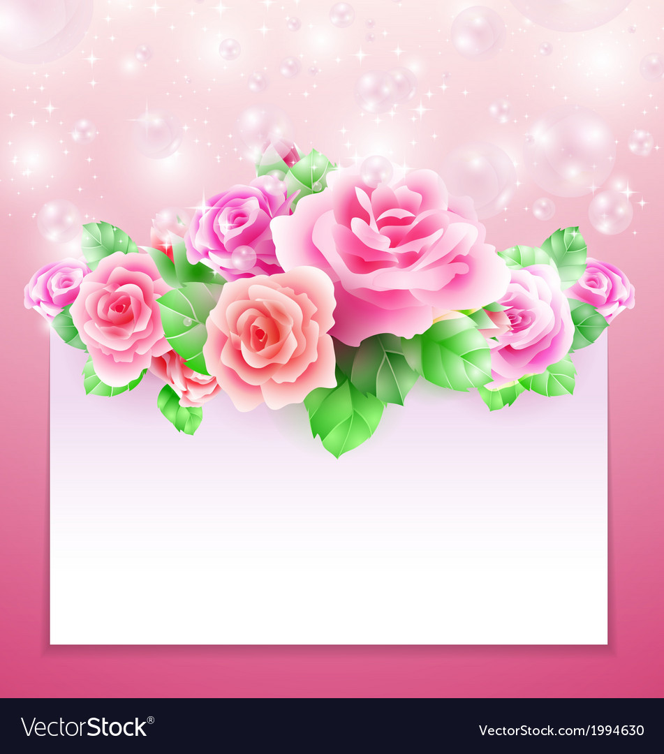 Glowing background with roses vector | Price: 1 Credit (USD $1)