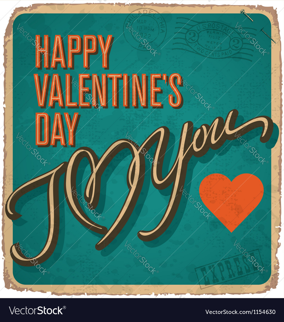 Hand-lettered vintage valentines card vector   Price: 1 Credit (USD $1)