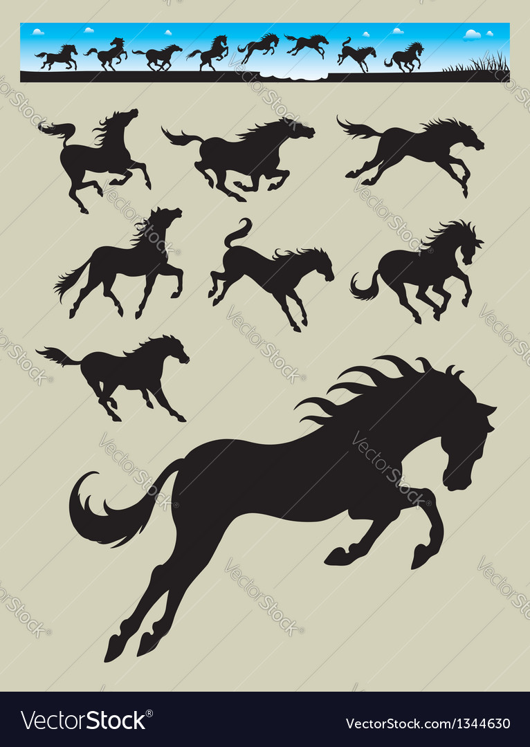 Horse running silhouettes 2 vector | Price: 1 Credit (USD $1)