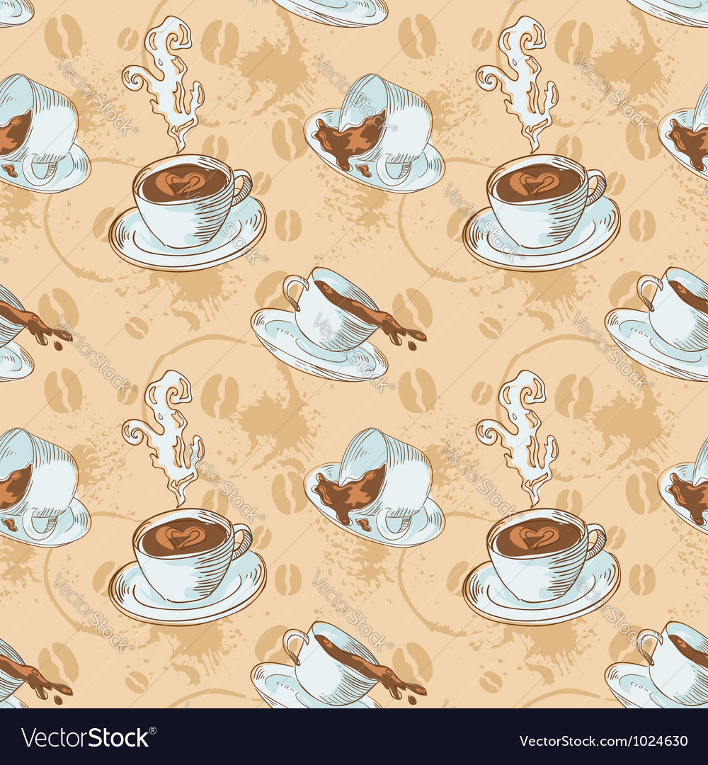 Steam coffee cups seamless pattern vector | Price: 1 Credit (USD $1)