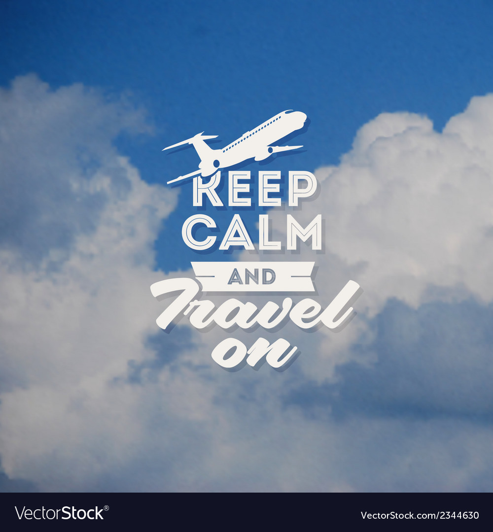 Travel type design with clouds background vector | Price: 1 Credit (USD $1)