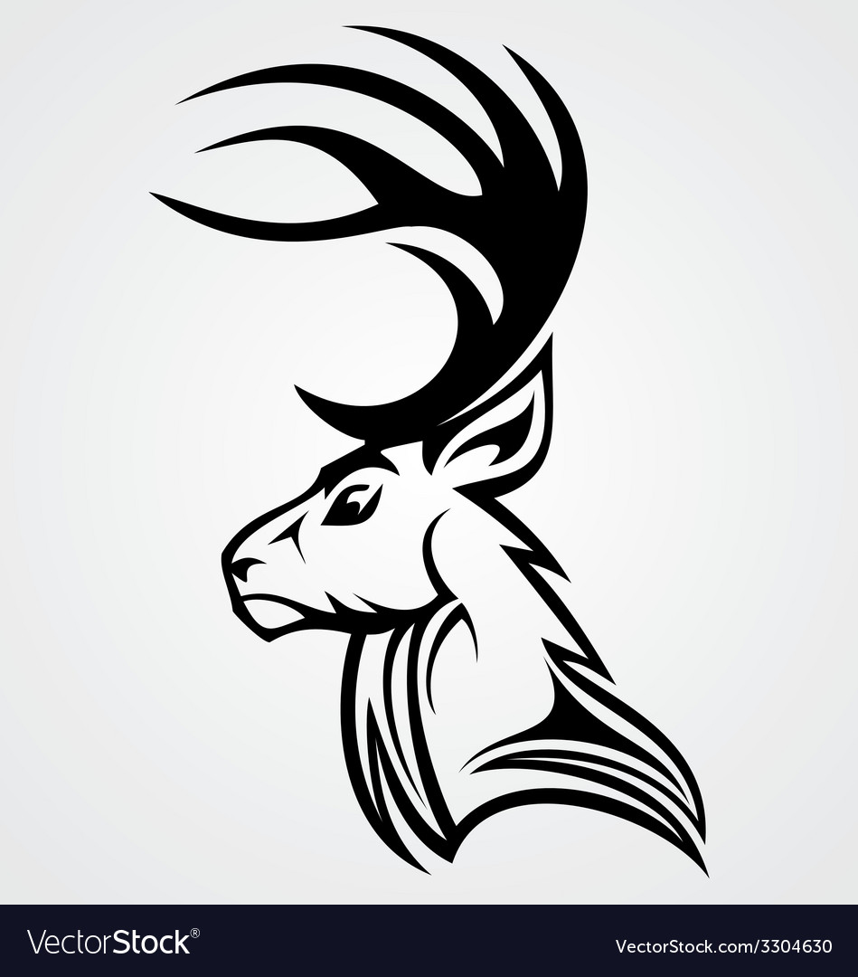 Tribal deer head vector | Price: 1 Credit (USD $1)