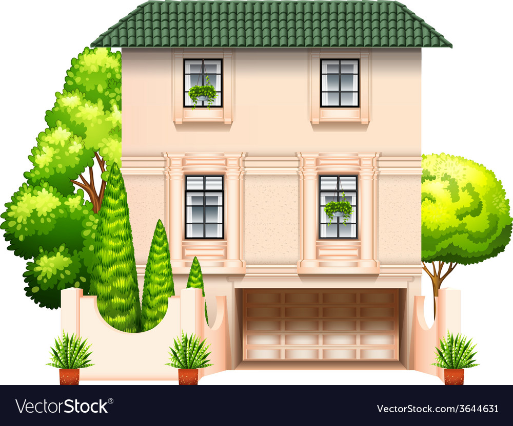 A building with trees vector | Price: 1 Credit (USD $1)