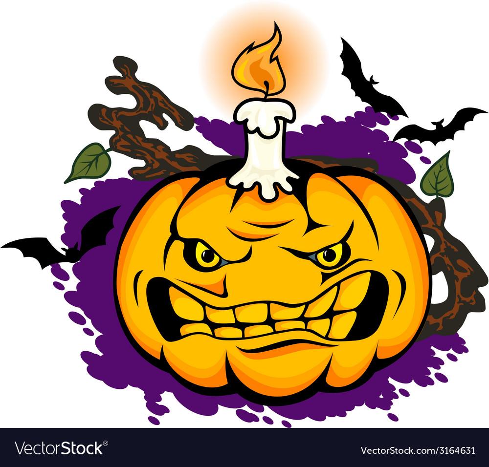 Angry halloween pumpkin vector   Price: 1 Credit (USD $1)